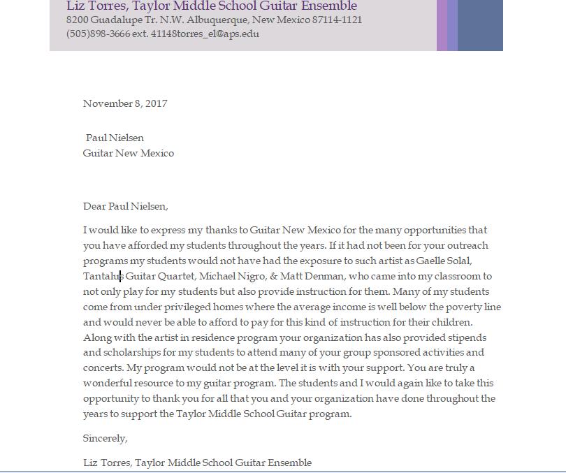 L Torres letter